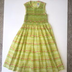 Luli & Me Girls Smocked Dress Lime Green & Flowers